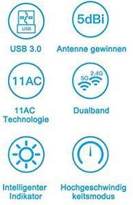 Aoyool WiFi Adapter 1300Mbit/s (5.8G/867Mbps+2.4G/300Mbps) für 6,37€ (statt 13€)