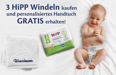 Hipp Windeln kaufen, personalisiertes Handtuch kostenlos erhalten