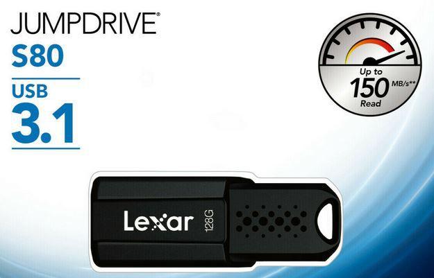 LEXAR JumpDrive S80   128GB USB 3.1 Stick für 11,84€ (statt 19€)