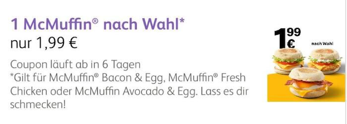 McDonalds Frühstück: McMuffin Bacon&Egg, Fresh Chicken und Avacado&Egg je nur 1,99€   APP