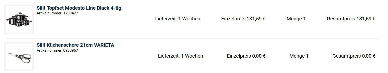Silit Topfset Modesto Line in Schwarz 4 tlg. für 135,54€ (statt 194€)   mit 30 Jahren Garantie + gratis Schere