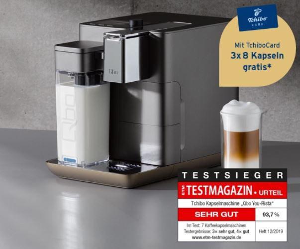Qbo You Rista Kaffeemaschine + Milk Master + Kaffe Starter Set für 145€ (statt 249€)