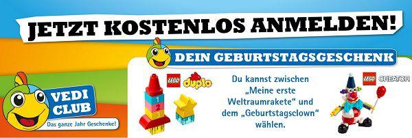 Mit Vedes Geburtstagsclub Anmeldung ein Lego Spielzeug gratis erhalten