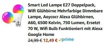Aoycocr  Doppelpack WiFi App LED E27 Leuchtmittel für 12,49€ (statt 26€)