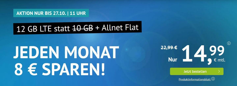 O2 AllNet & SMS Flat + 12GB LTE für 14,99€ (mtl.) vorzeitig Kündbar
