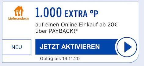 Payback: 1.000 Punkte (10€ Wert) bei Lieferando Bestellung ab 20€   nur ausgewählte Kunden