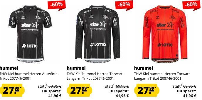 THW Kiel hummel Sale bei SportSpar   z.B. Torwart Langarm Trikot bis 6XL für 27,99€ (statt 68€)