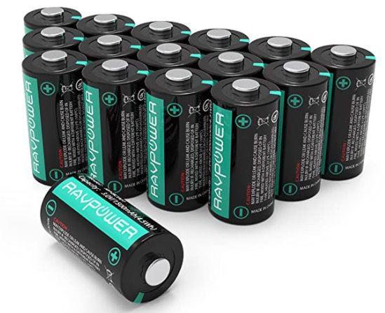 Abgelaufen! 16er Pack RAVPower CR123A 3V Lithium Batterien mit 1.500mAh für 15,99€   Prime