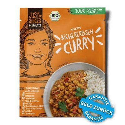 Bei Just Spices unbegrenzt Bio Kokos Kichererbsen Curry gratis dazubestellen