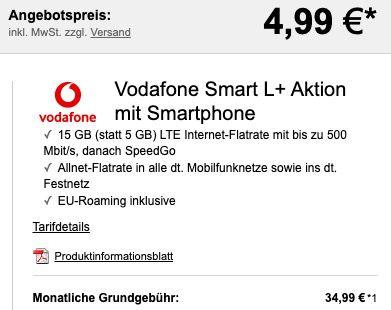 Sony Xperia 5 II für 4,99€ + Vodafone Flat mit 15GB LTE für 34,99€ mtl.