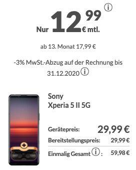 Vorbei! Sony Xperia 5 II + NC Kopfhörer für 431,74€ im Schubladenvertrag (statt aktuell 1.049€)