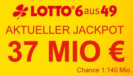 37 Mio Jackpot: 4 Felder Lotto 6 aus 49 für nur 0,40€   Lottobay Neukunden