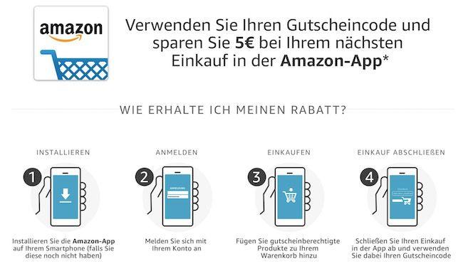 Schnell: 5€ Amazon Rabatt ab 25€ über die App (Prime)   auch Bestandskunden