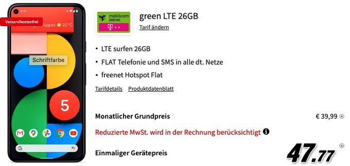 Google Pixel 5 128GB + Bose QC 35 II für 47,77€ mit Telekom Allnet Flat mit 26GB LTE für 39,99€ mtl.