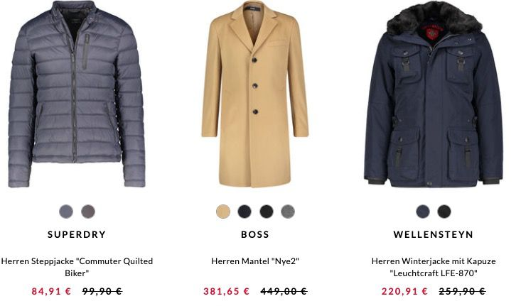 engelhorn mit 15% Rabatt auf alle Jacken & Mäntel   z.B. Boss Shanty 3 Wollmantel für 376,65€ (statt 450€)