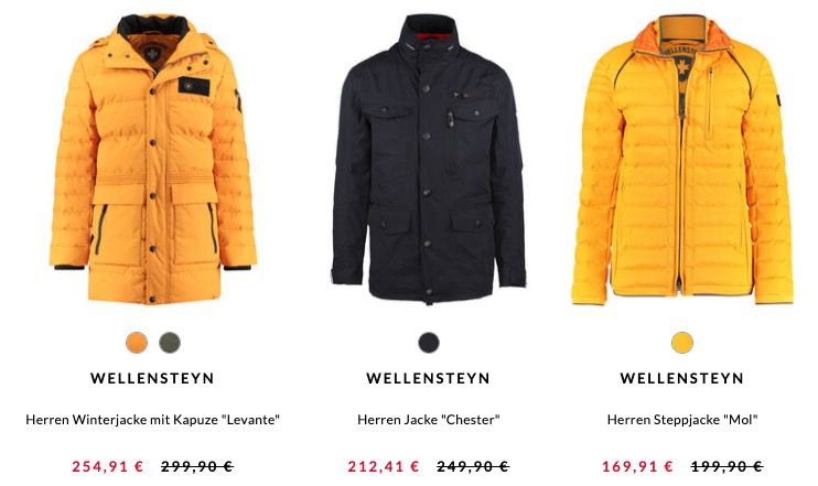 Tipp: 15% auf Wellensteyn Jacken + 5€ Gutschein bei engelhorn   z.B. Steppjacke Mol für 164,91€(statt 199€)