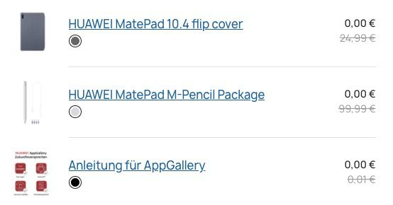 Huawei MatePad 10.4 Zoll WiFi 4GB/64GB + M Pencil Package + Flip Cover für 299€ (statt 405€)