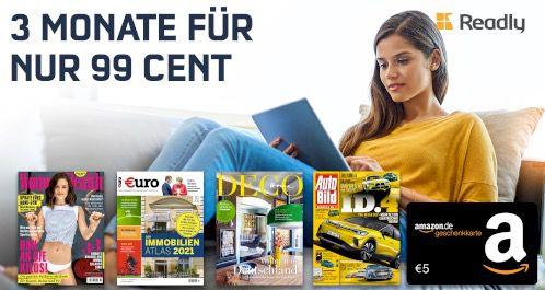 Knaller 🔥 3 Monate Readly Magazin Flat für einmalig 0,99€ + 5€ Amazon Gutschein