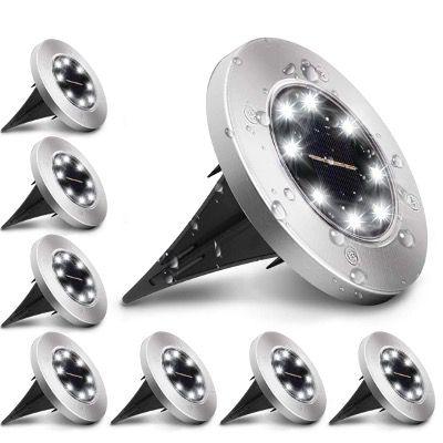 8x Kingso Solar Edelstahl Bodenleuchte mit je 8 LEDs und IP65 Wasserdicht für 24,04€ (statt 37€)