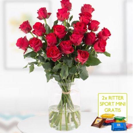 20 Rote Premium Rosen Rhodos (bis 60cm) + 2 Ritter Sport Mini Schokis für 24,99€