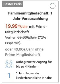 1 Jahr Amazon Kids+ (Zugang für bis zu 4 Kinder) für einmalig 19,99€ (statt 69€)