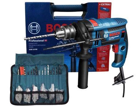 Bosch Professional GSB 16 RE Schlagbohrmaschine + Gürtel + Zubehör (Bohrer, Dübel) für 85,90€ (statt 120€)