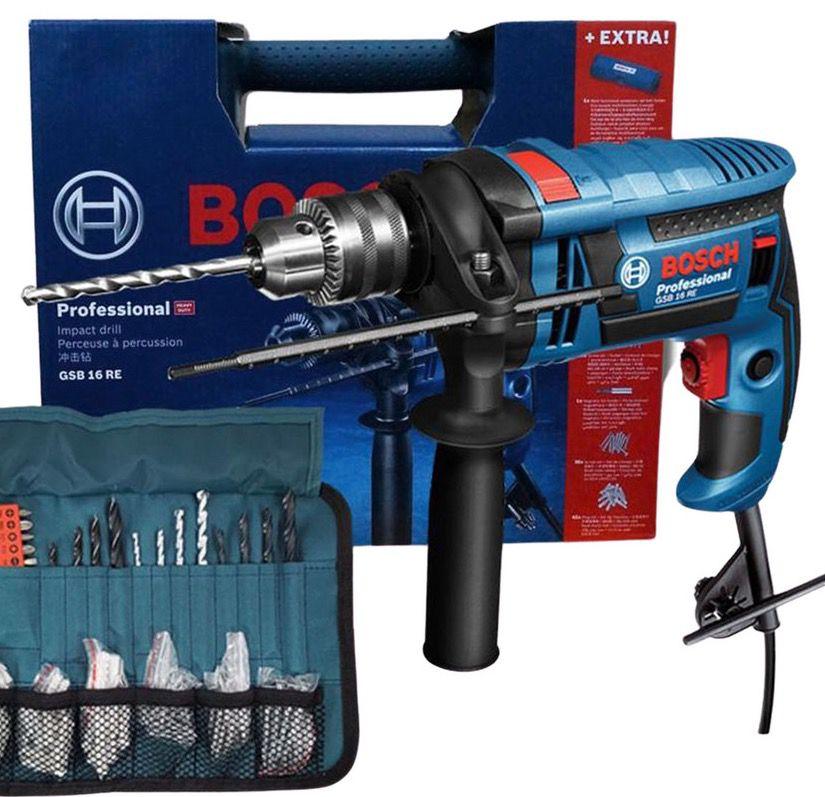 Bosch Professional GSB 16 RE Schlagbohrmaschine + Gürtel + Zubehör (Bohrer, Dübel) für 85,90€ (statt 100€)