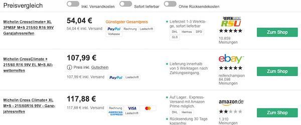 Vorbei! Michelin CrossClimate+ 215/60 R16 99V Ganzjahresreifen für 54,04€ (statt 108€)
