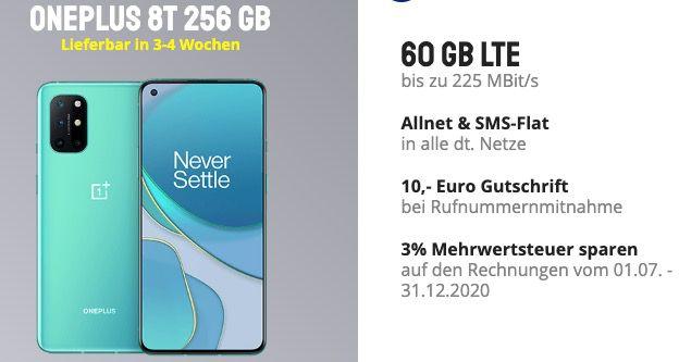 Das neue OnePlus 8T mit 256GB für 4,95€ + o2 Flat mit 60GB LTE (!) für 39,99€mtl.