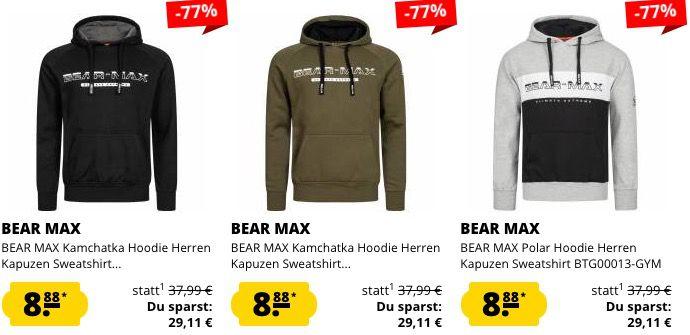 Bear Max Sale bei SportSpar   z.B. Hoodies ab 8,88€ und Jogginghosen ab 7,77€