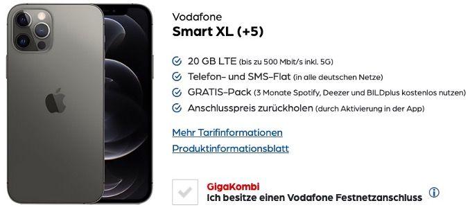 Apple iPhone 12 Pro Max 128GB für 519,95€ + Vodafone Flat mit 20GB LTE für 44,99€ mtl.