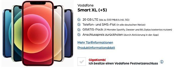 Apple iPhone 12 64GB für 139,95€ + Vodafone Flat mit 20GB LTE für 44,99€ mtl.