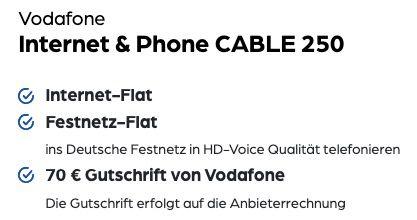 Vodafone Cable 250 für 34,99€ mtl. + 300€ Auszahlung