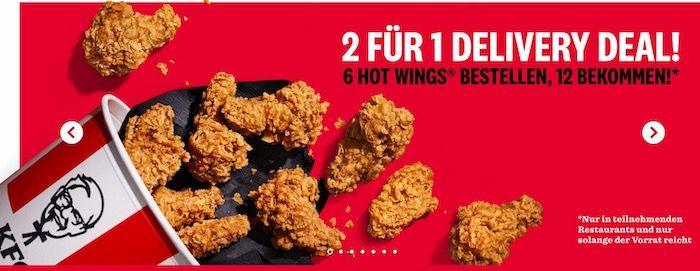 KFC Delivery Deal: 6 Hot Wings kaufen   nochmal 6 Hot Wings geschenkt erhalten