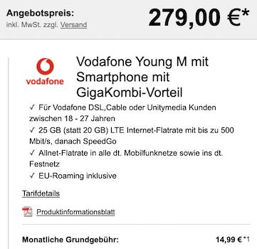 Young + GigaKombi: Apple iPhone 11 mit 64GB für 279€ + Vodafone Flat mit 25GB LTE/5G für 19,99€ mtl.
