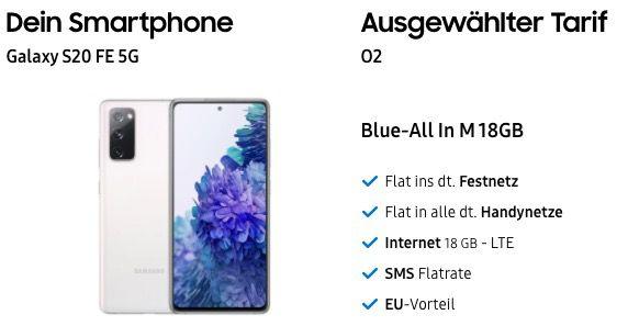 Samsung Galaxy S20 FE 5G für 79€ + o2 Flat mit 18GB LTE für 24,99€mtl.