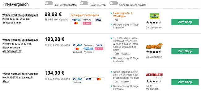 Weber Kettle E 5710 Holzkohlegrill für 99,99€ (statt 194€)