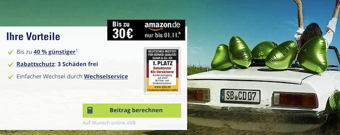 CosmosDirekt: Kfz Versicherung mit 30€ Amazon Gutschein Prämie + 75€ KwK Prämie