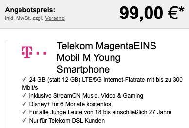 Young + Magenta: Apple iPhone 12 64GB für 99€ + Telekom Flat mit 24GB LTE/5G + StreamOn für 39,95€mtl.