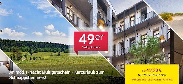 Animod 1 Nacht Hotelgutschein (über 50 Hotels) inkl. Frühstück für 2 Personen für 49,98€