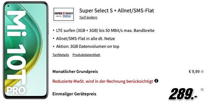 Xiaomi Mi 10T Pro 128GB für 289€ mit O2 Allnet Flat inkl. 6GB LTE für 9,99€ mtl.