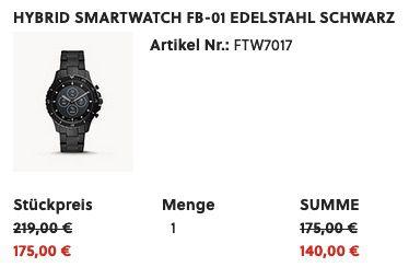 Fossil HR FB 01 Hybrid Smartwatch mit schwarzem Edelstahl  Armband für 140€ (statt 206€)
