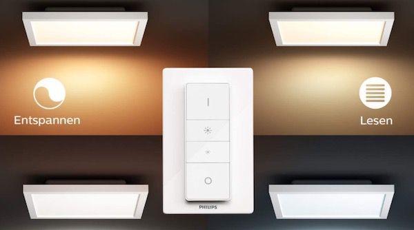 2er Set Philips Hue White Ambiance Aurelle Deckenleuchte 30x30cm mit Bluetooth inkl. Dimmschalter für 174,90€ (statt 238€)