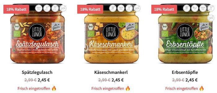 Little Lunch: 18% Rabatt auf die neuen Hüttenschmankerl Sorten   nur 2,45€ (statt 2,99€)