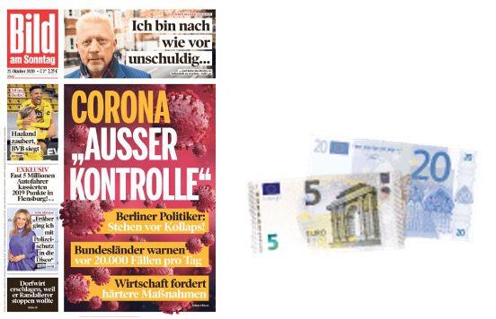 3 Monate BILD am Sonntag für 29,40€ + Prämie: 25€ Scheck oder 25€ Amazon Gutschein