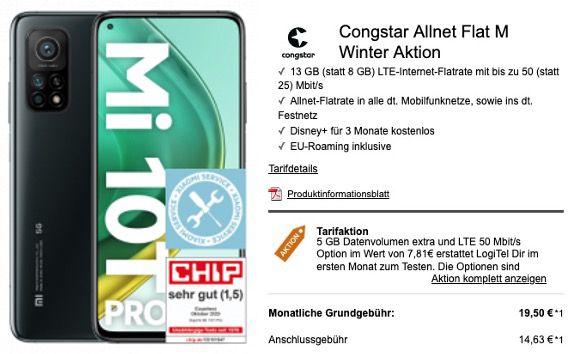 Xiaomi Mi 10T Pro 128GB  für 99€ mit Telekom Allnet Flat mit 8GB LTE für 20€ mtl.