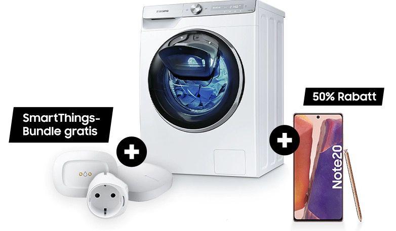 Samsung Smart Bundles: z.B. Waschmaschine WW5500T + Smart Things Set + Samsung Galaxy Note 20 für 1.042,13€ (statt 1.350€)