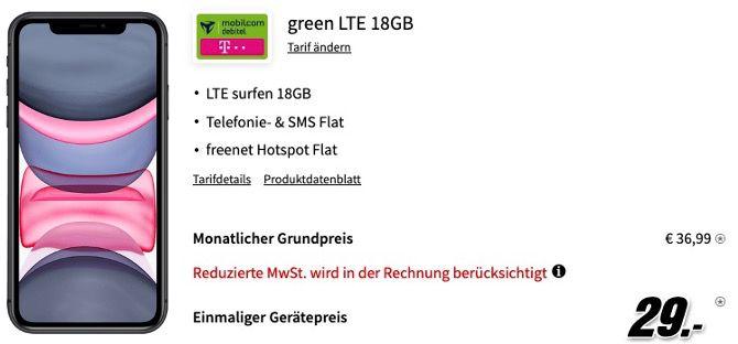 Apple iPhone 11 für 29€ mit Telekom Allnet Flat inkl. 18GB LTE für 36,99€ mtl.