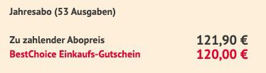52 Ausgaben Hörzu Programmmagazin für 121,90€ + Prämie: 120€ Gutschein