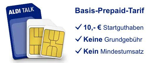 Aldi Talk Sim Karte im o2 Netz inkl. 10€ Startguthaben für einmalig 4,85€   kein Mindestumsatz, keine Grundgebühr